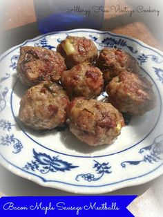 Allergy-Free Vintage Cookery: Bacon Maple Sausage Meatballs (use cinnamon instead of allspice)
