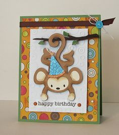 Monkey Birthday Card by mommy2darlings, via Flickr