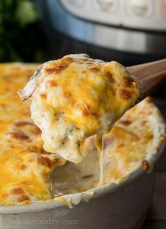 WOW! These Instant Pot Cheesy Scalloped Potatoes are so good and ready so fast!!