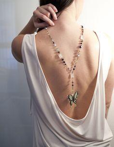 Ciondolo Butterfly con Pietre Naturali ROSSO prezioso