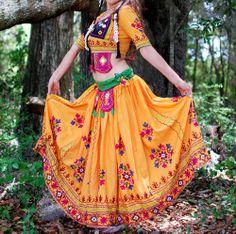 Vintage Tribal Banjara kuchi dance embroidery mirror lehenga choli skirt