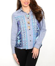 Look at this Teal & White Paisley Denim Button-Up on #zulily today!