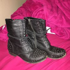 Black Studded Combat Boots Incredibly trendy studded black combat boots by Madden Girl (Steve Madden). In absolutely excellent condition!! Steve Madden Shoes Combat & Moto Boots