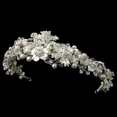 Silver Rhinestone, Crystal & Diamond White Pearl Headpiece 5429
