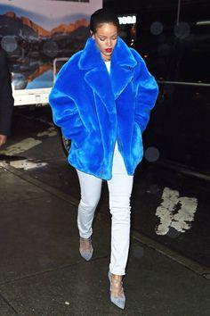 White denim, bold blue fur, grey lace up heels.