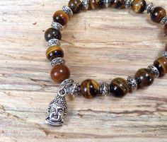 Tiger Eye Buddha Charm Bracelet Calming stone, Zen healing bracelet, Boho, Yoga on Etsy