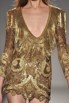 gold metal- gold fringe on gold- Balmain