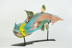 "Chrysler Cat, 24"" x 15"" x 12"" in, hot sculpted glass, electroplated copper, steel. 2013"