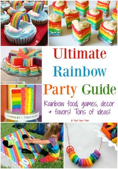The Ultimate Rainbow Party Guide! Rainbow food, rainbow games and activities, rainbow decor ideas to make or buy, rainbow favors! Have the best rainbow birthday party out there! Rainbow Party Games, Rainbow Party Decorations, Rainbow Unicorn Party, Rainbow Parties, Rainbow Food, Rainbow Theme, Rainbow Treats, Rainbow Baby, Trolls Birthday Party