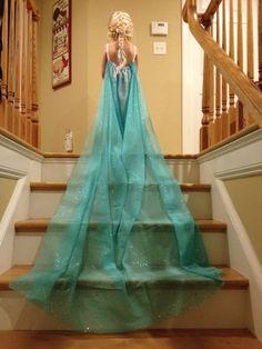 DIY Elsa Dress from a curtain sheer.