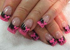 Discover new and inspirational nail art for your short nail designs. Bow Nail Designs, Black Nail Designs, Short Nail Designs, Acrylic Nail Designs, Nails Design, Spring Nail Art, Spring Nails, Gorgeous Nails, Love Nails