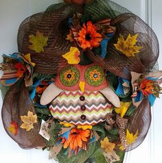 Harvest Owl Blessing Wreath Deco Mesh Fall by SouthernHeartWreaths