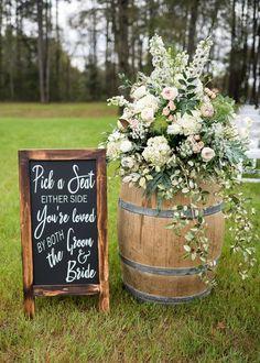 Wedding Ceremony Ideas, Wedding Signage, Wedding Reception Decorations, Wedding Table, Wedding Venues, Reception Seating, Outdoor Ceremony, Wedding Backyard, Outdoor Wedding Reception