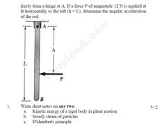 Applied Mechanics (Dynamics) - BE (PU) Question Paper 2010 | SEM: Spring
