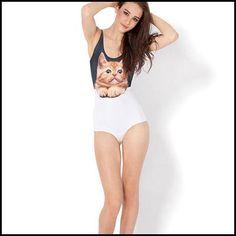 85537f649a157 Aliexpress.com   Buy Women One Full Piece Swimwear Animal Face Swimsuit  School Cheap Swimsuits Summer Style Print Skin Bodysuit White Cute Monokini  from ...