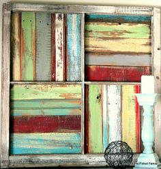 old window frame with spare pieces of wood