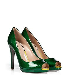 Detailed with a discrete colorblock and ultra-modern textural-effect patent leather, Sergio Rossi's peep-toe pumps are a sophisticated way to add color to your outfit #Stylebop