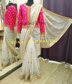 This gorgeous gotta patti saree and jacket is a very high quality outfit along with fabrics made on order for Sonal very dear client. Ask for price and close pic on Whatsapp at . Simple Blouse Designs, Saree Blouse Neck Designs, Stylish Blouse Design, Lehenga Designs, Saree Draping Styles, Saree Styles, Saree Gown, Dhoti Saree, Silk Sarees