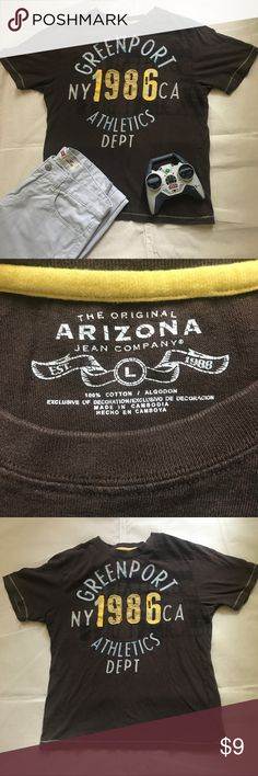 """Arizona jean co. (big boy) brown graphic T-shirt L Arizona jean co. (big boy) brown/gold embellished + graphic T-shirt. Size L (16). Chest 18.5"""" (armpit seam to seam), Length 23"""". Excellent used condition. Smoke Free Home 🏡 Arizona Jean Company Shirts & Tops Tees - Short Sleeve"""