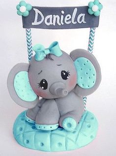 Baby Elephant Cake Topper/ Keepsake Cake topper/ created out of Cold Porcelain Gorgeous Baby Elephant can be customized to any color combination you wish (at no extra cost.) This sweet and unique cake…More Elephant Cake Toppers, Elephant Baby Shower Cake, Elephant Cakes, Baby Boy Shower, Pink Elephant, Baby Shower Cake For Girls, Elephant Birthday, Baby Shower Cake Decorations, Baby Shower Centerpieces