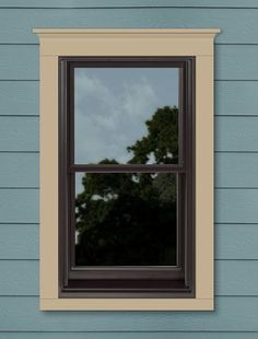 My Custom-Designed Andersen Window Window Color: Dark Bronze Trim Style: 3 Flat w/ Cornice Height - Sill Nose Trim Color: Prairie Grass Grille: None House Siding: Blue Cement Board This design available in: A-Series, 400 Series Hardie Board Colors, Hardie Board Siding, Exterior Siding, Exterior House Colors, Exterior Paint, Siding Options, Dark Trim, House Siding, Craftsman Style Homes