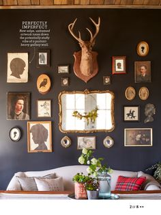 Black walls with art