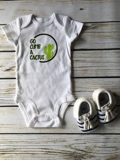 A personal favorite from my Etsy shop https://www.etsy.com/listing/453327516/cactus-onesie-moccasin-baby-gift-baby
