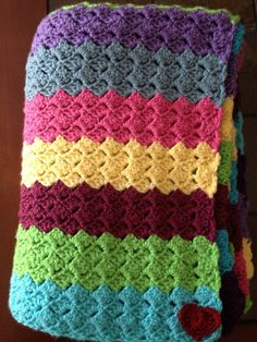 Rainbow blanket - I love the texture of this slanted shell stitch!