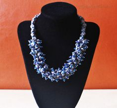 Blue Bead Necklace by AfrowearHouse on Etsy