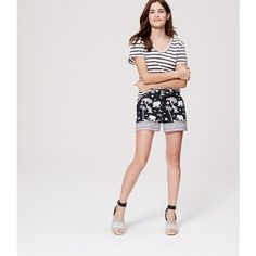 """LOFT Petite Elephant Riviera Shorts with 4"""" Inseam ($50) ❤ liked on Polyvore featuring shorts, fresh navy, elephant print shorts, zipper shorts, navy shorts, navy blue shorts and petite shorts"""