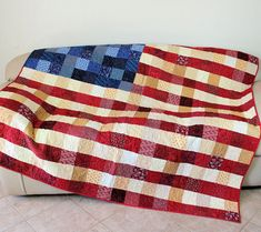 Patriotic Wall Hanging Throw Lap Quilt by CactusPenguin on Etsy, $250.00