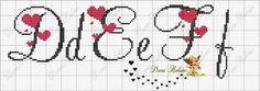 Cursive with hearts alphabet Cross Stitch Letters, Cross Stitch Boards, Cross Stitch Heart, Embroidery Alphabet, Embroidery Fonts, Embroidery Patterns, Loom Patterns, Stitch Patterns, Cross Stitching