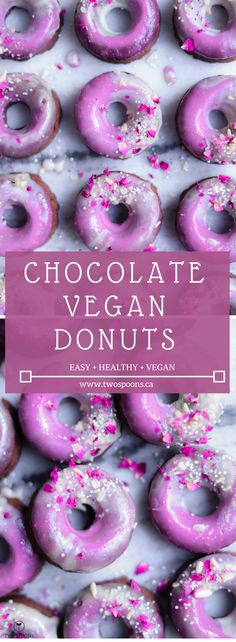 CHOCOLATE VEGAN DONUTS WITH PINK FROSTING | Easy, Healthy, Vegan, Gluten-free | TWO SPOONS