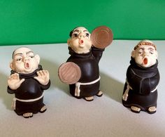 VINTAGE 3 Ceramic Monks Priest Figurines Home Decor Collectible Religious Gift