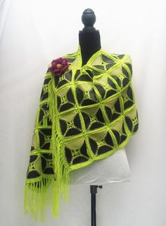 Leather Shawl Wrap/ Scarf/ Head Wrap/ Couch Throw/ Wall Hang/ House Decor - crocheted patchwork - reversible, Neon Lime Green by RezahDesignStudio on Etsy
