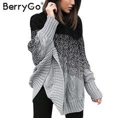 BerryGo Bat sleeve knitting pullover female Streetwear knitted sweater women Casual autumn winter sweater pullover jumper poncho #BerryGo #sweaters #women_clothing #stylish_sweater #style #fashion