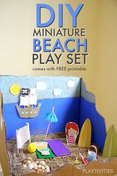 Miniature Beach Play Set And The Adventures. The post has a free printable of all the cute accessories.