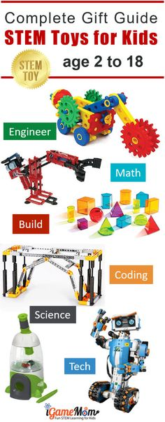 Complete Best STEM Toys Gift Guide for boys and girls from preschool kindergarten to high school.