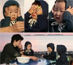 "The Song Triplets on ""The Return of Superman"" Superman Baby, Song Il Gook, Triplet Babies, Korean Tv Shows, Man Se, Song Triplets, Song Daehan, Cutest Thing Ever, Celebrity Dads"
