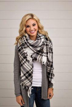 BLACK AND WHITE PLAID BLANKET SCARF | ONLINE WOMEN'S FASHION | ONLINE WOMEN'S CLOTHING BOUTIQUE | Warm yourself up with the solid winter blanket scarf. These