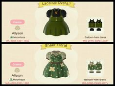 A couple green dresses I made :) : ACQR Qr Code Animal Crossing, Animal Crossing Guide, Animal Crossing Qr Codes Clothes, Animal Games, My Animal, Film Manga, Ac New Leaf, Pokemon, Motifs Animal