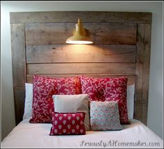 Love the headboard with the light on it!