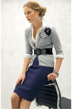 Great for office. Lose skirt and flowers, then pair with boots and jeans for a more casual look.