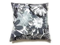 Decorative Pillow Cover Black White Gray by LynnesThisandThat