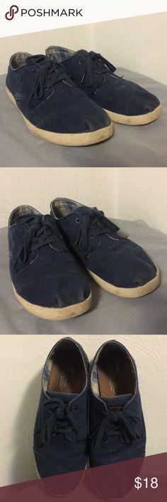 Toms Navy Blue Canvas Lace Ups Toms Navy Blue Canvas Lace Ups - Mens Toms Shoes Sneakers