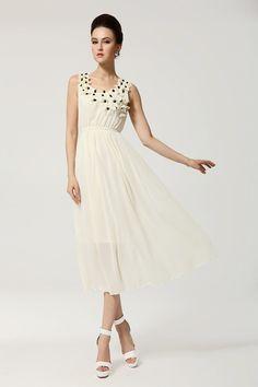 Fashion Pleated O Neck Tank Sleeveless White Chiffon Ankle Length Dress