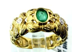 18k 1ct Yellow Oval cut Emerald Cocktail Ring sz 7, 5.3g B4. #Cocktail