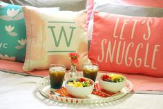 Serve a beautiful breakfast in bed complete with personalized pillows to set the tone. Best Mothers Day Gifts, Personalized Pillows, Breakfast In Bed, Dunkin Donuts, Easy Meals, Table Decorations, Simple, Sweet, Recipes
