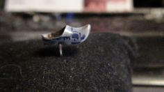 vintage gold and porcelain dutch shoe tie tac by NewYorkJunk on Etsy