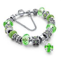 LongWay European Style Silver Plated Blue Crystal Charm Bracelet